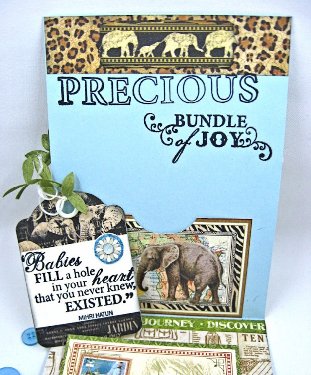 Welcome to our Jungle Baby Boy Elephant Card, Safari Adventure, by Kathy Clement, Product by Graphic 45 Photo 6 jpg