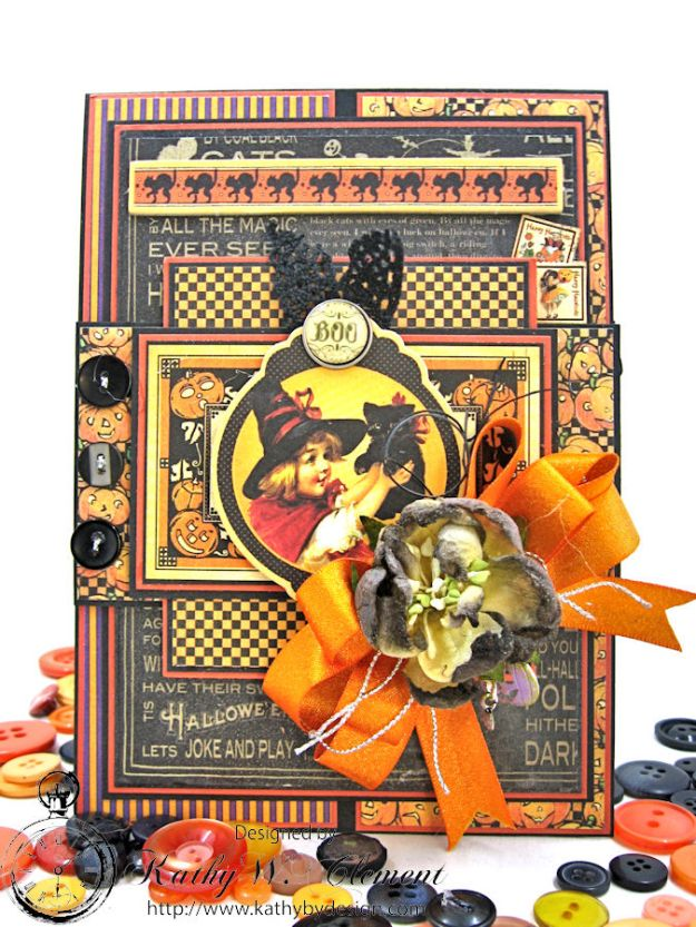 Jolly Halloween Wishes Card, Happy Hauntings, by Kathy Clement for Really Reasonable Ribbon, Product by Graphic 45, Photo 1