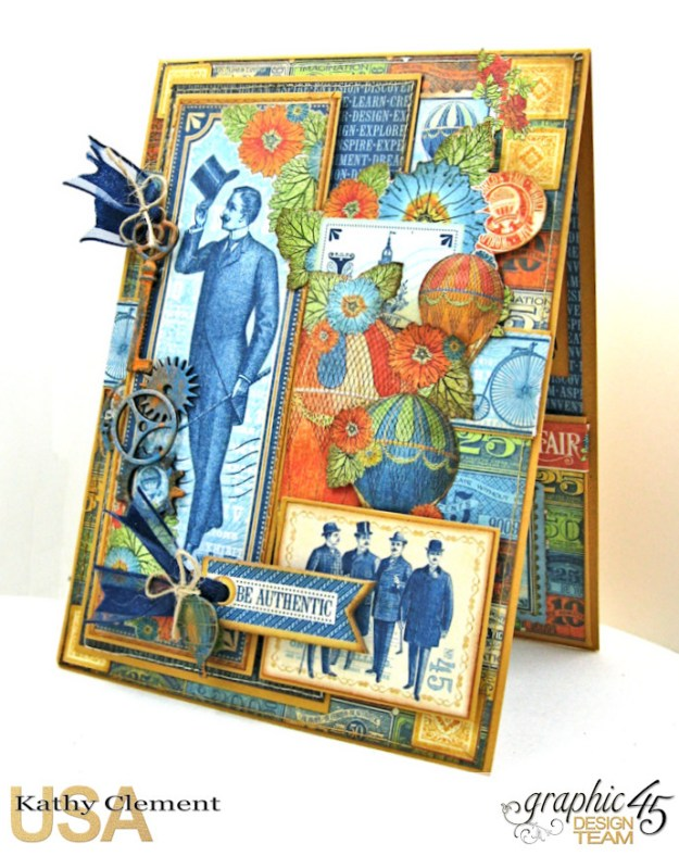 Ladies and Gents Birthday Card Tutorial,World's Fair, by Kathy Clement, Product by Graphic 45 Photo 4