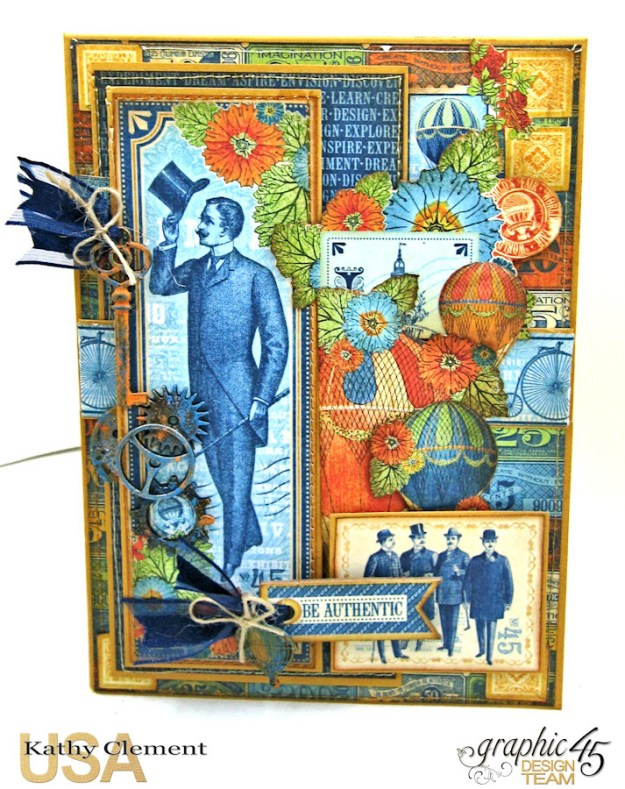 Ladies and Gents Birthday Card Tutorial, World's Fair, by Kathy Clement, Product by Graphic 45 Photo 5