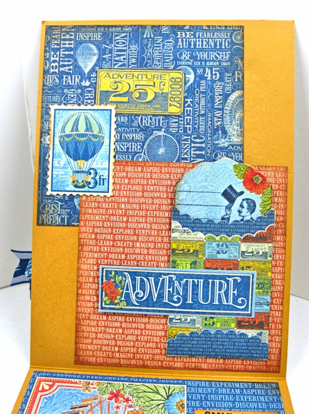 Ladies and Gents Birthday Card Tutorial, World's Fair, by Kathy Clement, Product by Graphic 45 Photo 8