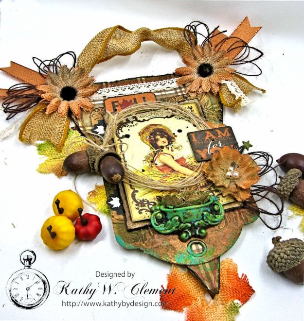 Thankful Fall Wall Hanging, Harvest, by Kathy Clement for Petaloo, Product by Authentique and Petaloo, Photo 2