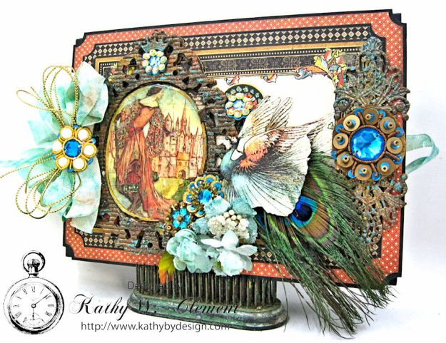 The Princess and the Peacock Box Card, Enchanted Forest, by Kathy Clement for Frilly and Funkie Things with Wings Challenge, Product by Graphic 45, Photo 1