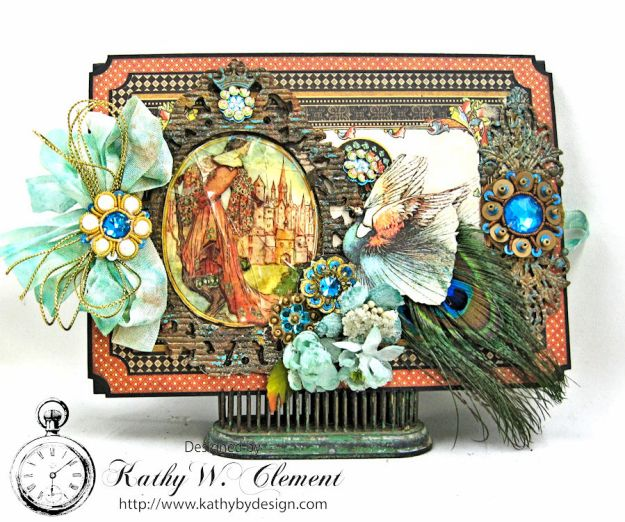 The Princess and the Peacock Box Card, Enchanted Forest, by Kathy Clement for Frilly and Funkie Things with Wings Challenge, Product by Graphic 45, Photo 3