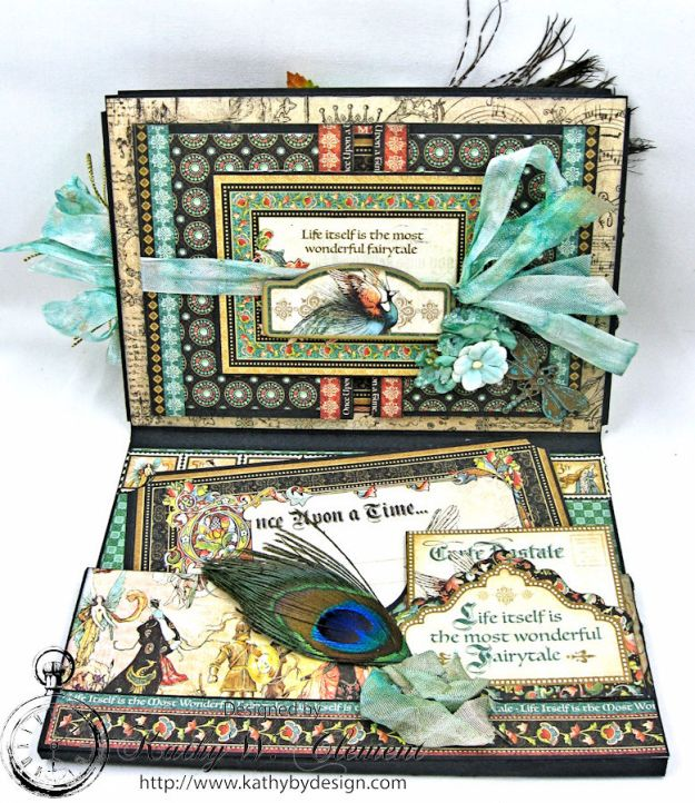The Princess and the Peacock Box Card, Enchanted Forest, by Kathy Clement for Frilly and Funkie Things with Wings Challenge, Product by Graphic 45, Photo 7