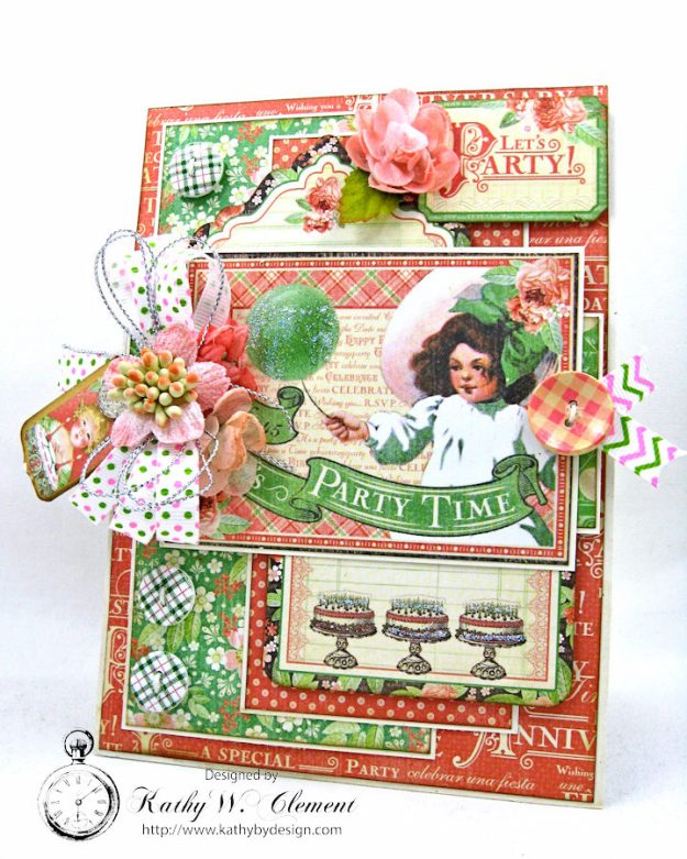 Graphic 45 Shabby Chic Birthday Celebration Card by Kathy Clement for Really Reasonable Ribbon Photo 1