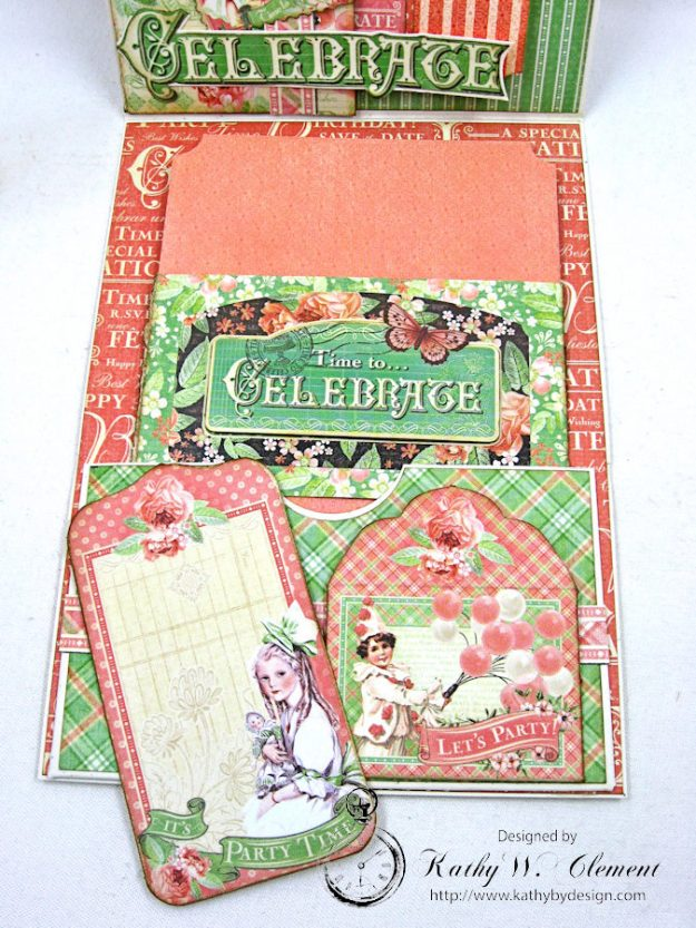 Graphic 45 Shabby Chic Birthday Celebration Card by Kathy Clement for Really Reasonable Ribbon Photo 7