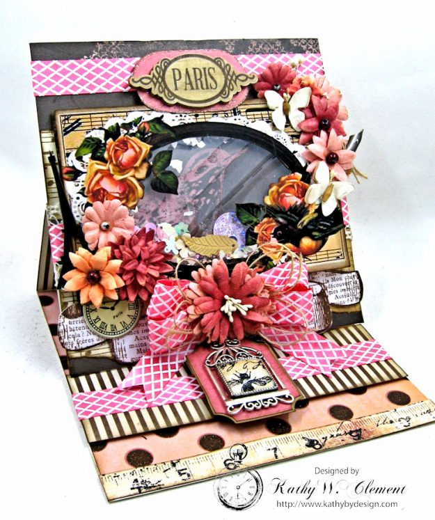 Paris Birds Shaker Easel Card By Kathy Clement for Put a Bow on it Challenge at Really Reasonable Ribbon Photo 1