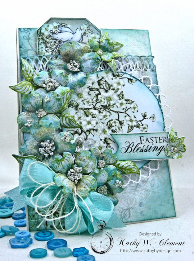 Aqua Flowering Dogwood Easter Card Tutorial by Kathy Clement for Heartfelt Creations Alumni Hop Photo 4