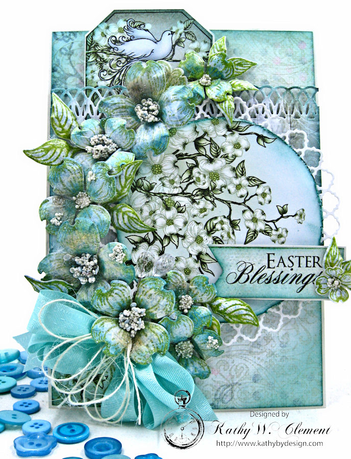 Aqua Flowering Dogwoods card by Kathy Clement for Heartfelt Creations Alumni Team Photo 1