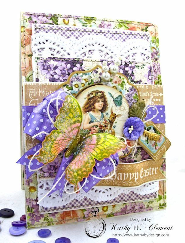 Shabby Chic Easter Greetings Card with Pockets & Tags by Kathy Clement for Really Reasonable Ribbon Photo 2
