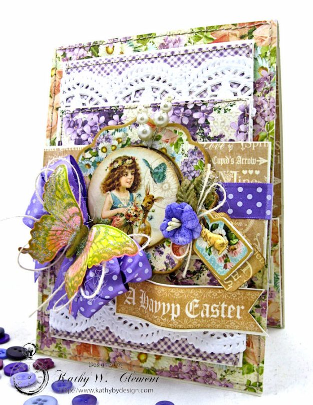 Shabby Chic Easter Greetings Card with Pockets & Tags by Kathy Clement for Really Reasonable Ribbon Photo 1