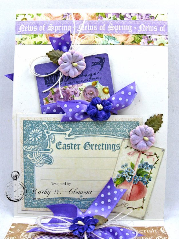 Shabby Chic Easter Greetings Card with Pockets & Tags by Kathy Clement for Really Reasonable Ribbon Photo 6