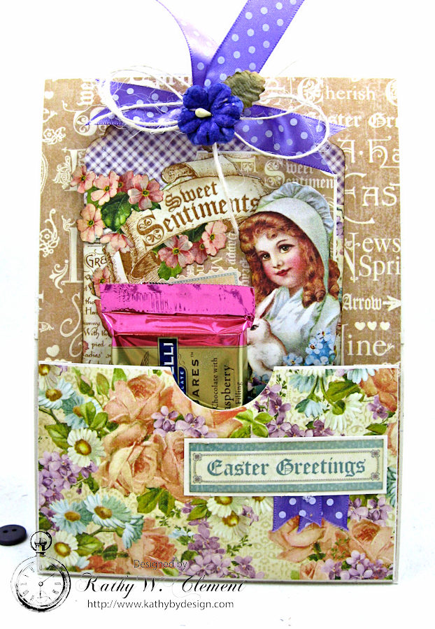 Shabby Chic Easter Greetings Card with Pockets & Tags by Kathy Clement for Really Reasonable Ribbon Photo 8