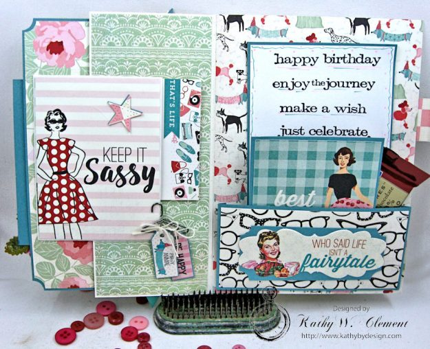 Authentique Fabulous Retro Style Birthday Card by Kathy Clement for Really Reasonable Ribbon Photo 3