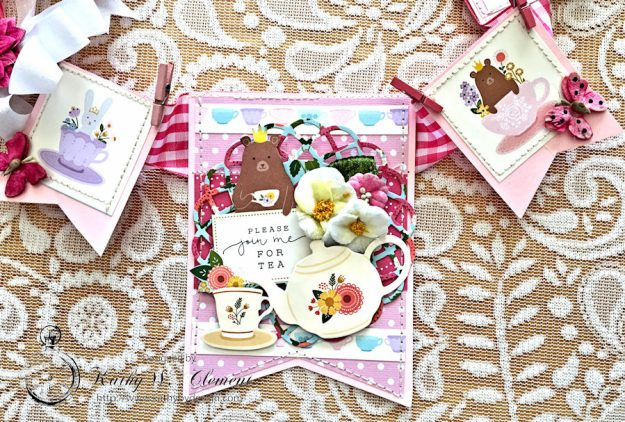 Tealightful tea party banner by Kathy Clement for Petaloo International Photo 2