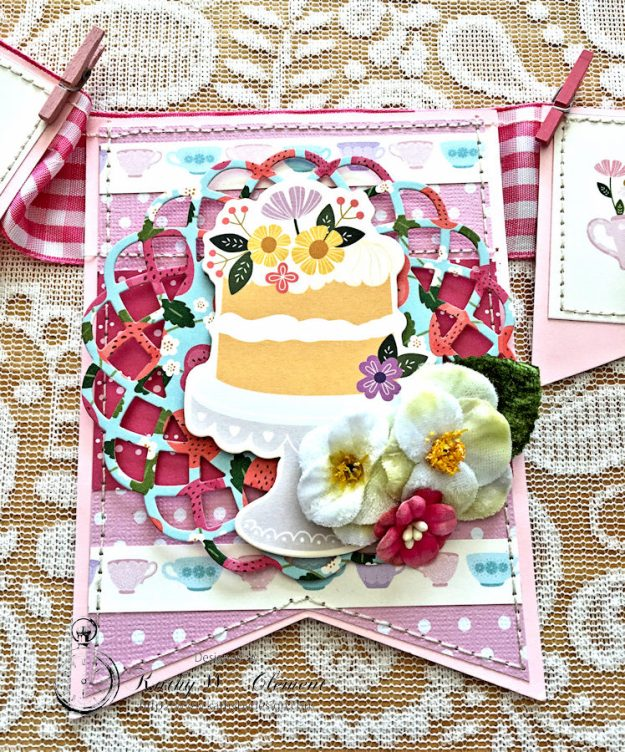 Tealightful tea party banner by Kathy Clement for Petaloo International Photo 7