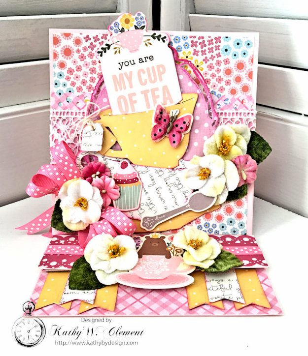 You're My Cup of Tea Easel Card by Kathy Clement for Petaloo International Photo 1