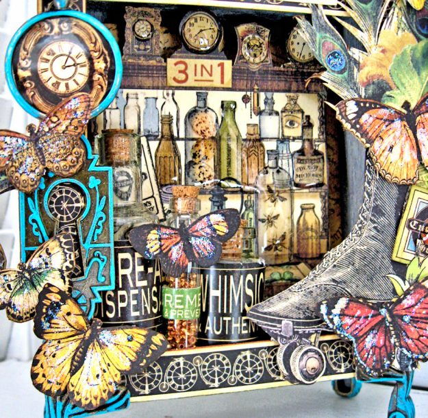 Graphic 45 Olde Curiosity Shoppe Vignette House for Frilly and Funkie Count Me In Challenge by Kathy Clement Photo 7