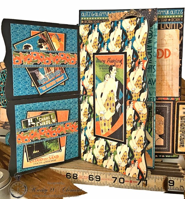 Graphic 45 Vintage Hollywood Four Fold Folio Tutorial by Kathy Clement for Frilly and Funkie Photo 10