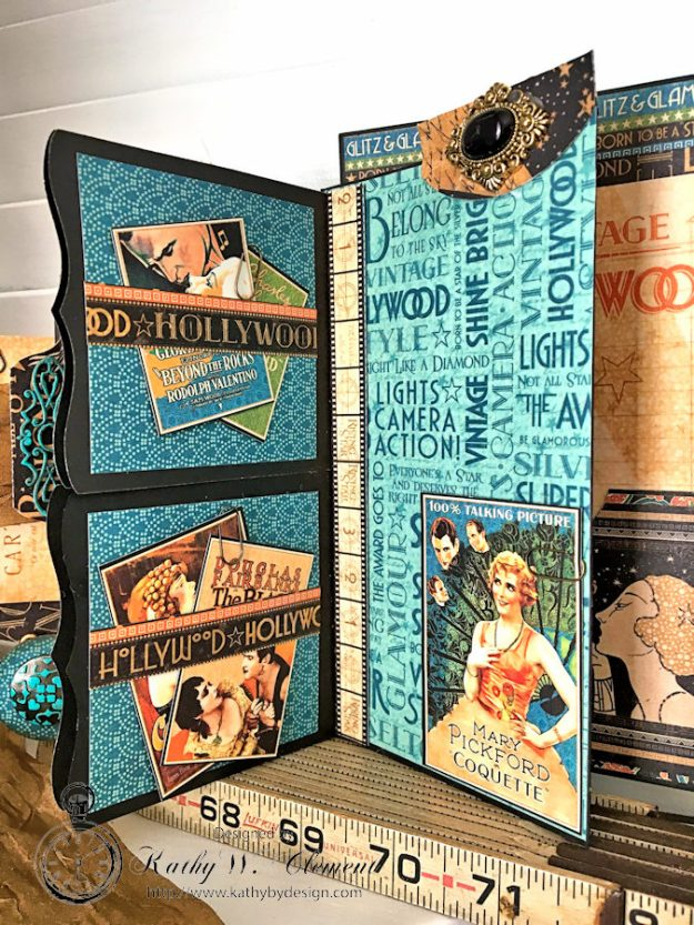 Graphic 45 Vintage Hollywood Four Fold Folio Tutorial by Kathy Clement for Frilly and Funkie Photo 11