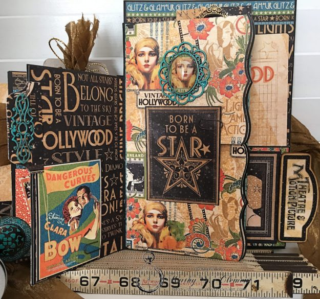 Graphic 45 Vintage Hollywood Four Fold Folio Tutorial by Kathy Clement for Frilly and Funkie Photo 9