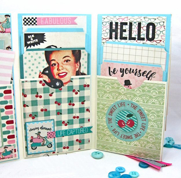 Be YOU Tiful Authentique Fabulous Retro Style Folio Tutorial by Kathy Clement Photo 8
