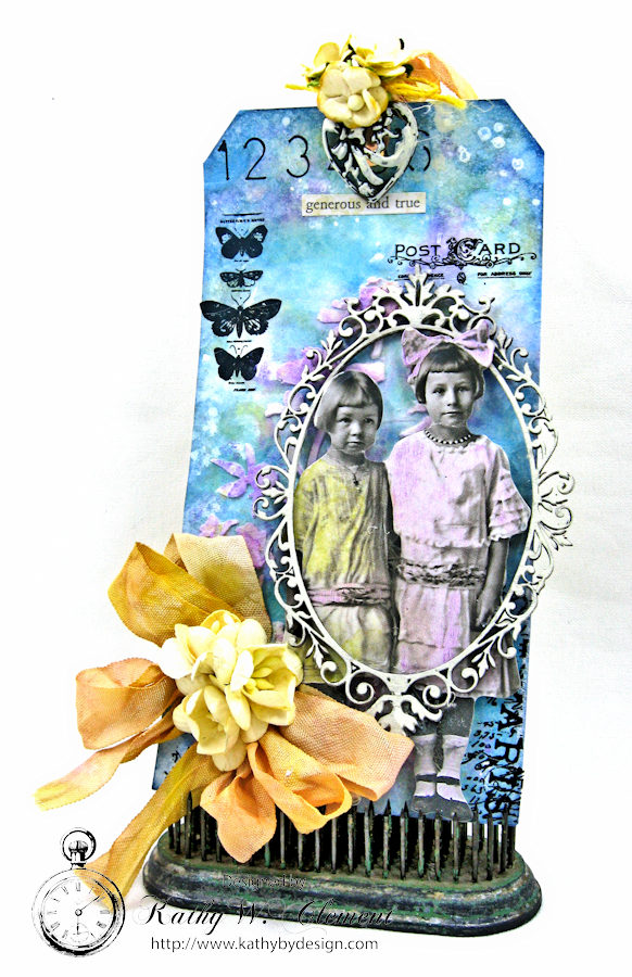Vintage Art Tag with Distress Oxide Ink Altered Seam Binding Ribbon by Kathy Clement Photo 1