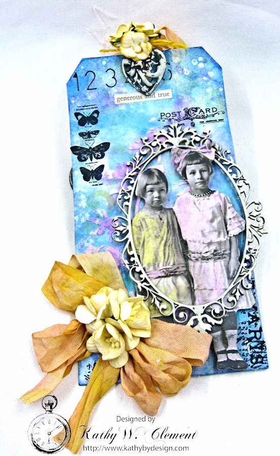 Vintage Art Tag with Distress Oxide Ink Altered Seam Binding Ribbon by Kathy Clement Photo 3