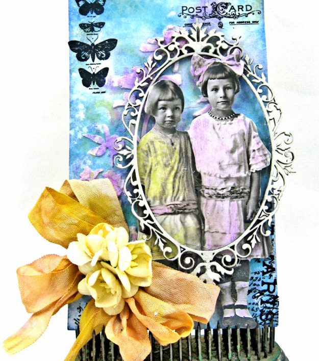Vintage Art Tag with Distress Oxide Ink Altered Seam Binding Ribbon by Kathy Clement Photo 5
