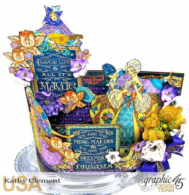 Magical Midnight Masquerade Bendi Card Centerpiece Midnight Masquerade by Kathy Clement Product by Graphic 45 Photo  2