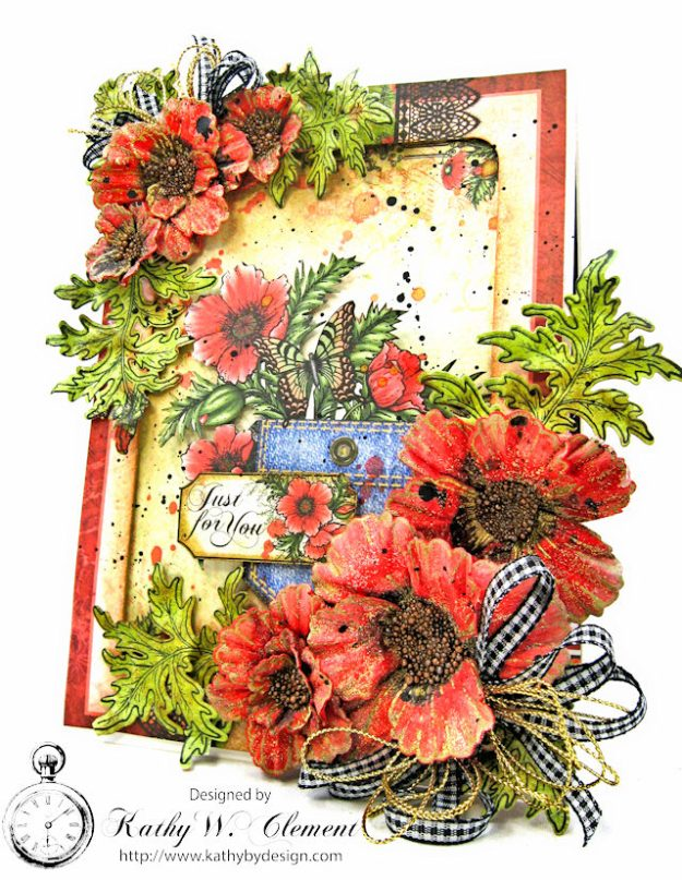 Pocket Full of Poppies All Occasion Card Blazing Poppies by Kathy Clement Product by Heartfelt Creations Photo 1a