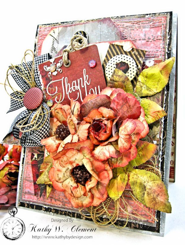 Shabby Posies Thank You Card Tutorial by Kathy Clement for Tammy Tutterow Designs Photo 2