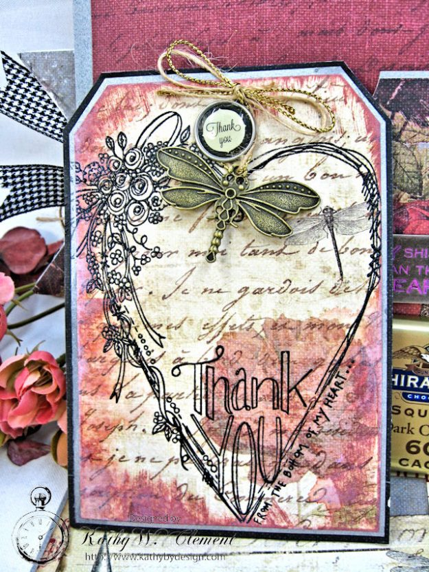 Shabby Posies Thank You Card Tutorial by Kathy Clement for Tammy Tutterow Designs Photo 7