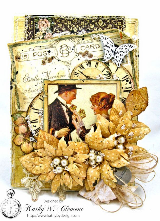 Adore Shabby Chic Wedding Card A Ladies Diary DCE by Kathy Clement for Frilly and Funkie Product by Graphic 45 Photo 1