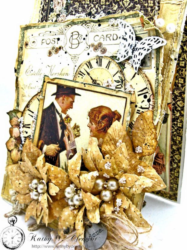 Adore Shabby Chic Wedding Card A Ladies Diary DCE by Kathy Clement for Frilly and Funkie Product by Graphic 45 Photo 3