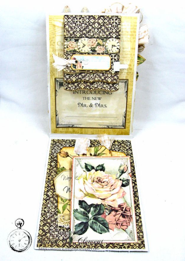 Adore Shabby Chic Wedding Card A Ladies Diary DCE by Kathy Clement for Frilly and Funkie Product by Graphic 45 Photo 5