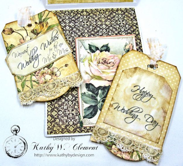 Adore Shabby Chic Wedding Card A Ladies Diary DCE by Kathy Clement for Frilly and Funkie Product by Graphic 45 Photo 8