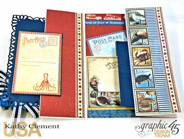 Bathing Beauties Double Gatefold Card Tutorial Place in Time by Kathy Clement Product by Graphic 45 Photo 3