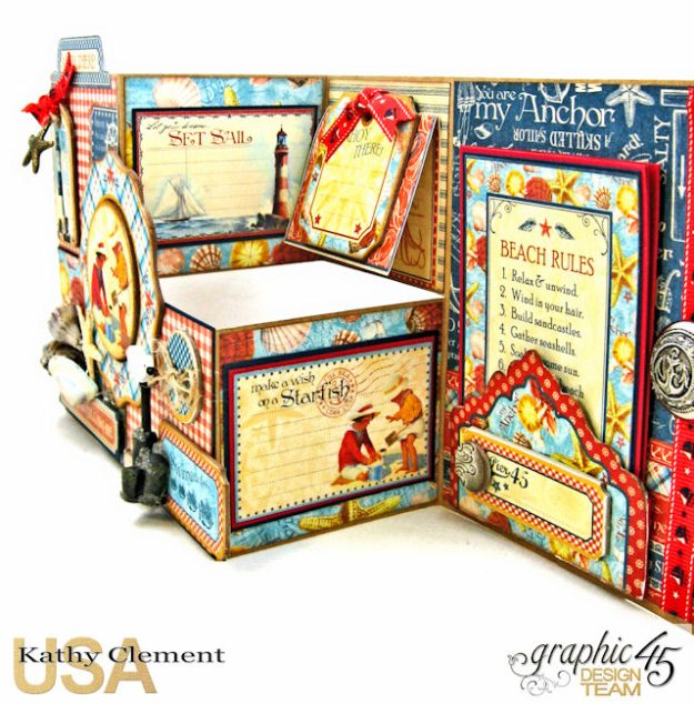 By the Sea Step Out Card Tutorial By the Sea by Kathy Clement Product by Graphic 45 Photo 4