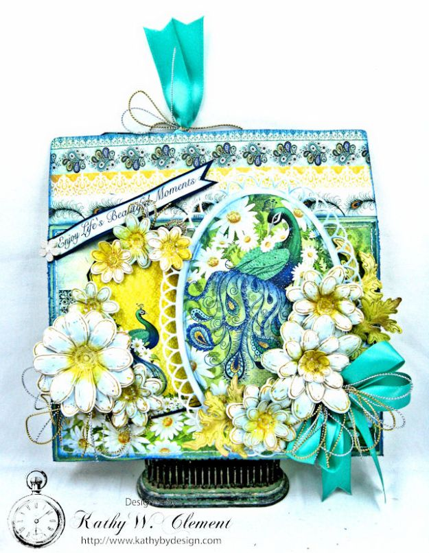 Peacock Paisley Altered Envelope Tutorial by Kathy Clement Product by Heartfelt Creations Photo 1