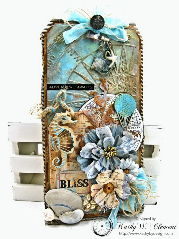 Seaside Summer Mixed Media Tag by Kathy Clement for Frilly and Funkie In the Good Old Summertime Challenge Photo 5