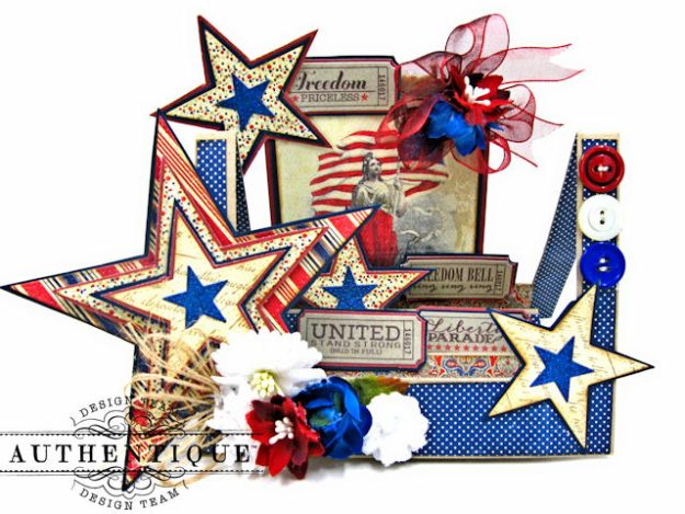 Stars and Stripes Center Step Card Heroic by Kathy Clement Product by Authentique Photo 1