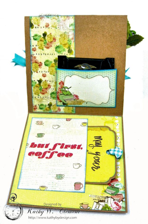 You,  Me & Coffee Hidden Tag All Occasion Card for Really Reasonable Ribbon by Kathy Clement Photo 4