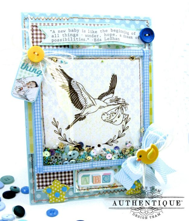 Authentique Beginnings Baby Boy Shaker Card Tutorial by Kathy Clement Photo 1