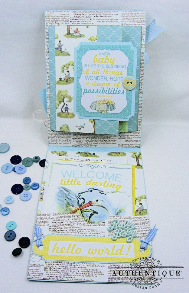 Authentique Beginnings Baby Boy Shaker Card Tutorial by Kathy Clement Photo 7