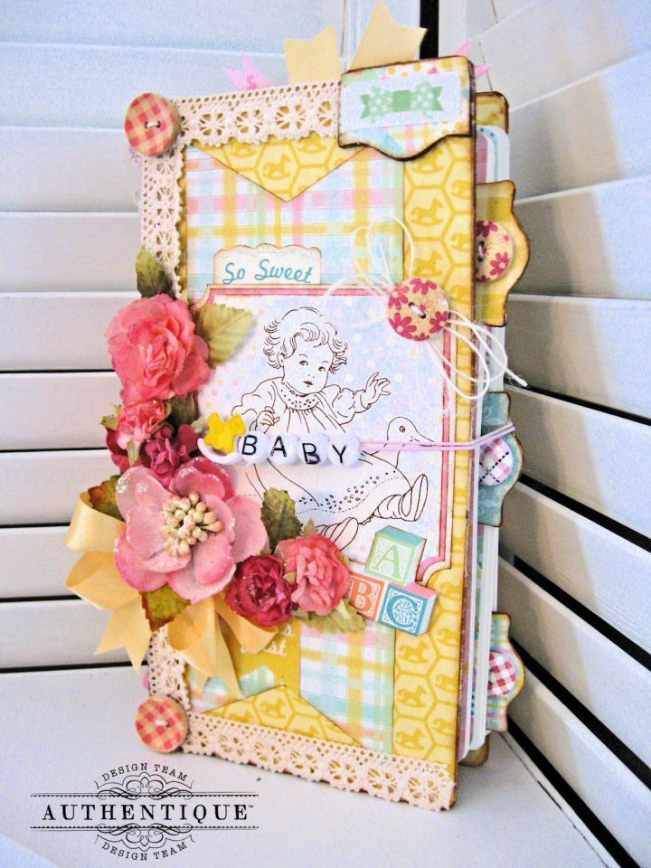 Beginnings Baby Book Beginnings by Kathy Clement Product by Authentique Paper Photo 1
