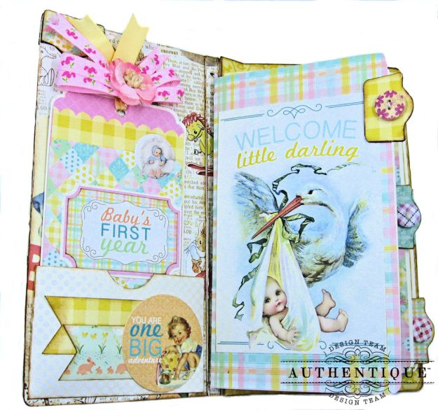 Beginnings Baby Book Beginnings by Kathy Clement Product by Authentique Paper Photo 5