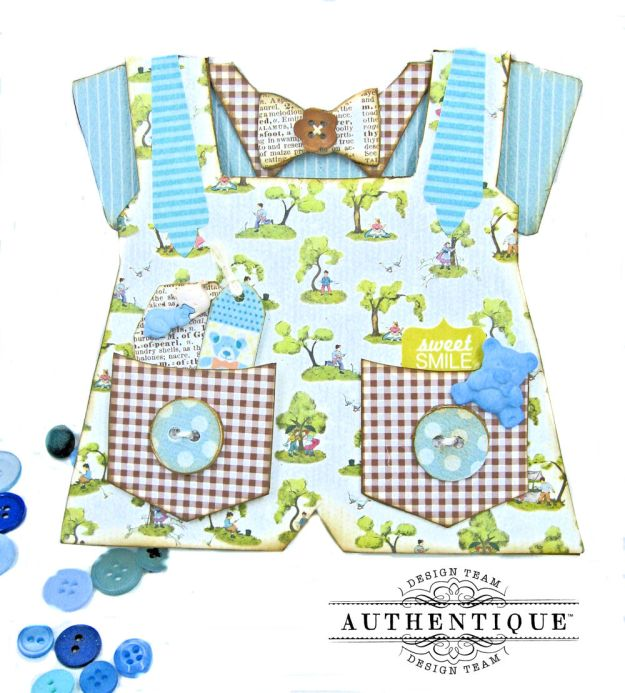 Authentique Beginnings Baby Boy Bib Overall Card by Kathy Clement Photo 1