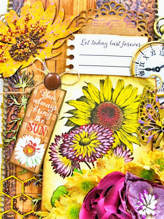 Summer Sunflowers Mixed Media Tag Cheerful by Kathy Clement Product by Authentique Photo 3